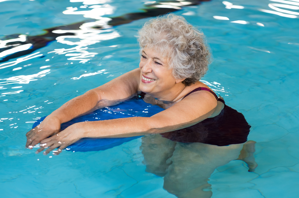 Women doing aquatic therapy in the pool