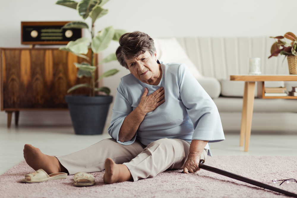 risk of a fall - elderly woman