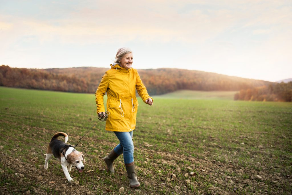 woman walking with dog after CBD relieved joint pain