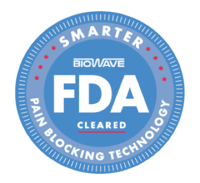 Badge saying: FDA cleared smarter pain blocking technology