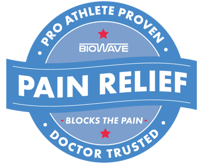 Badge saying: pro athlete proven, doctor trusted pain relief